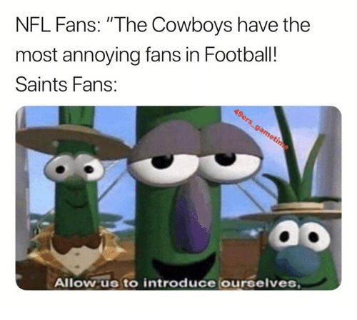 """nfl fans: NFL Fans: """"The Cowboys have the  most annoying fans in Football!  Saints Fans:  Allow us to introduce ourselves"""