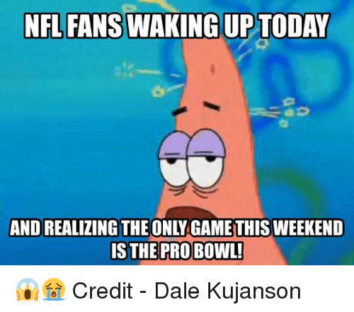 Nfl, Today, and Weekend: NFL FANS WAKING UP TODAY  AND REALIZING THE ONLY GAMETHIS WEEKEND  IS THE PROBOWL! 😱😭  Credit - Dale Kujanson