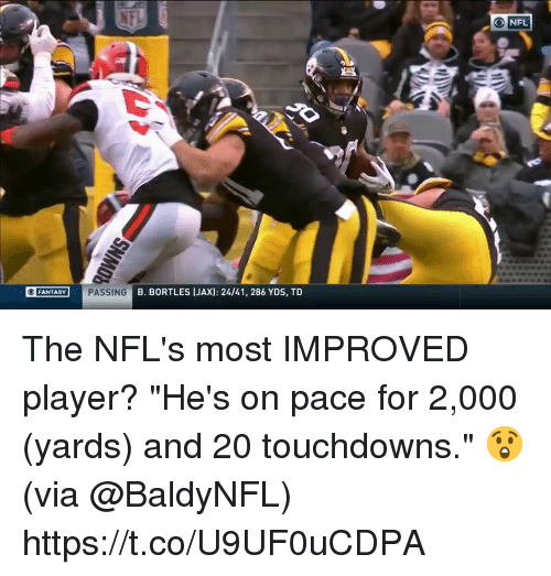 "Memes, Nfl, and 🤖: NFL  FANTASY  B. BORTLES [JAX): 24/41, 286 YDS, TD The NFL's most IMPROVED player?  ""He's on pace for 2,000 (yards) and 20 touchdowns."" 😲(via @BaldyNFL) https://t.co/U9UF0uCDPA"
