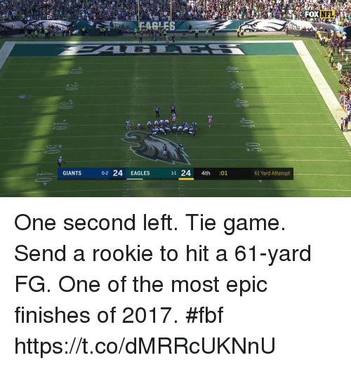 Most Epic: NFL  GIANTS  0-2 24 EAGLES  11 24 4th :01  61 Yard Attempt One second left. Tie game. Send a rookie to hit a 61-yard FG.  One of the most epic finishes of 2017. #fbf https://t.co/dMRRcUKNnU