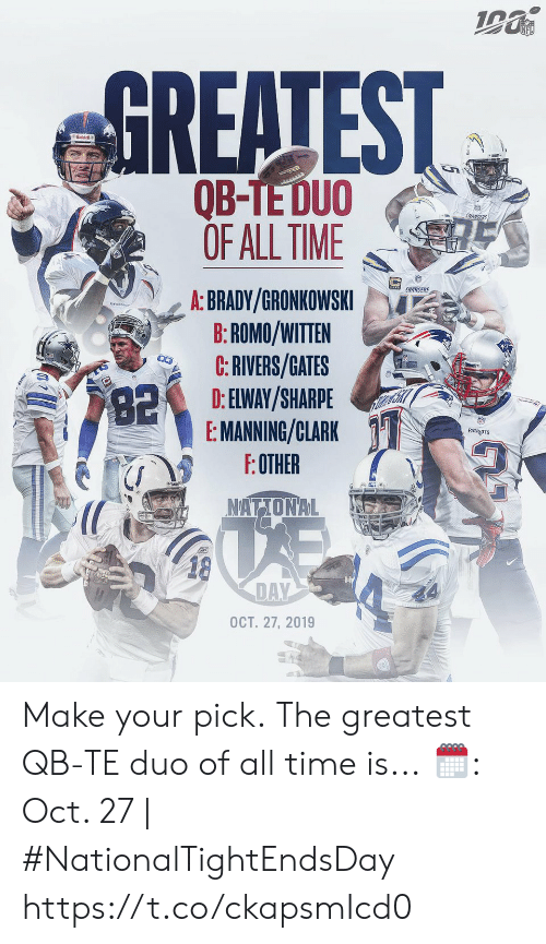Memes, Nfl, and Chargers: NFL  GREATEST  Riddell  అమ  QB-TE DUO  OF ALL TIME  CHARGERS  CHARGERS  A: BRADY/GRONKOWSKI  B:ROMO/WITTEN  C:RIVERS/GATES  D: ELWAY/SHARPE  E: MANNING/CLARK  F:OTHER  82  PATROTS  NATIONAL  18  DAY  OCT. 27, 2019 Make your pick.  The greatest QB-TE duo of all time is...  🗓: Oct. 27 | #NationalTightEndsDay https://t.co/ckapsmIcd0