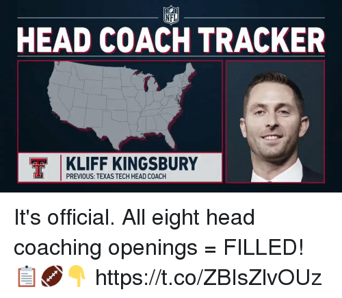 Head, Memes, and Nfl: NFL  HEAD COACH TRACKER  KLIFF KINGSBURY  PREVIOUS: TEXAS TECH HEAD COACH It's official.   All eight head coaching openings = FILLED! 📋🏈👇 https://t.co/ZBIsZlvOUz