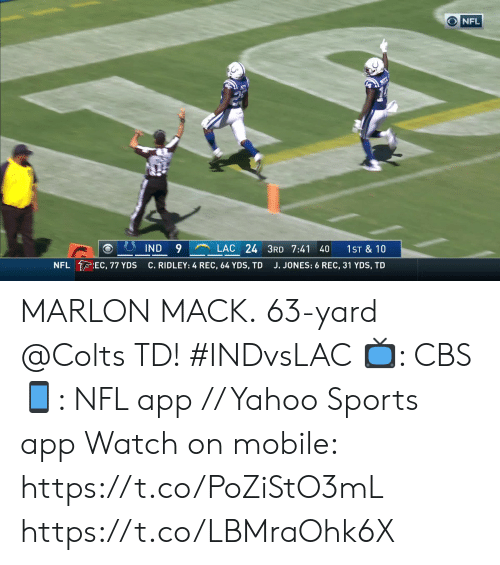 Indianapolis Colts, Memes, and Nfl: NFL  LAC 24 3RD 7:41 40  9  IND  1ST & 10  NFL EC, 77 YDS  C. RIDLEY: 4 REC, 64 YDS, TD  J. JONES: 6 REC, 31 YDS, TD MARLON MACK.  63-yard @Colts TD! #INDvsLAC  📺: CBS 📱: NFL app // Yahoo Sports app  Watch on mobile: https://t.co/PoZiStO3mL https://t.co/LBMraOhk6X