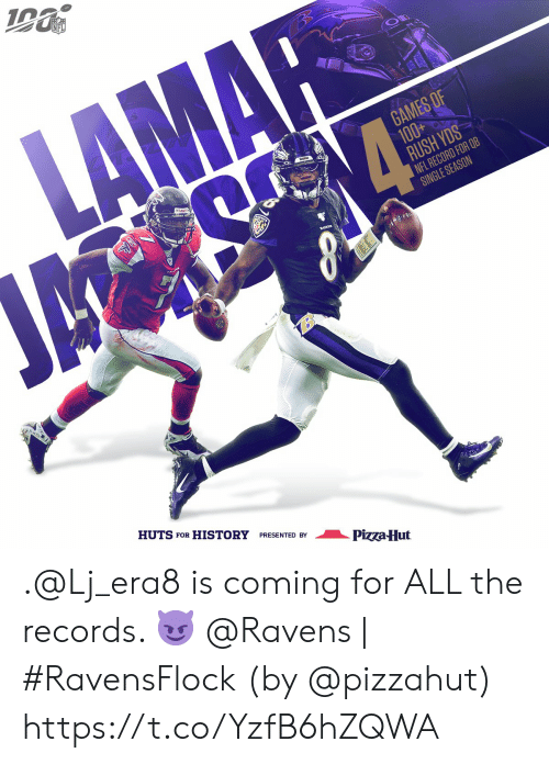 records: NFL  LAMAR  GAMES OF  100+  RUSH YDS  NFL RECORD FOR QB  SINGLE SEASON  ম  HUTS FOR HISTORY PRESENTED BY  Pizza-Hut .@Lj_era8 is coming for ALL the records. 😈  @Ravens | #RavensFlock  (by @pizzahut) https://t.co/YzfB6hZQWA