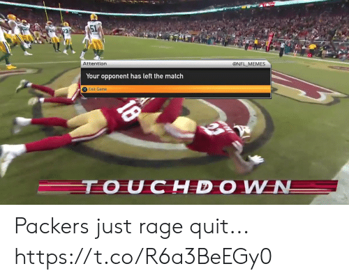 quit: @NFL MEMES  Attention  Your opponent has left the match  Exit Game  TOUCHDOWN  18 Packers just rage quit... https://t.co/R6a3BeEGy0