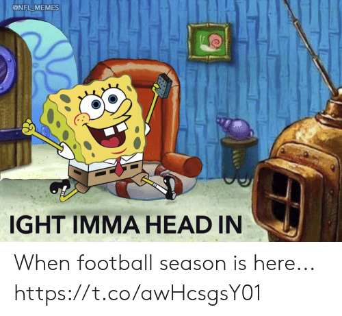 Football, Head, and Memes: @NFL MEMES  IGHT IMMA HEAD IN When football season is here... https://t.co/awHcsgsY01