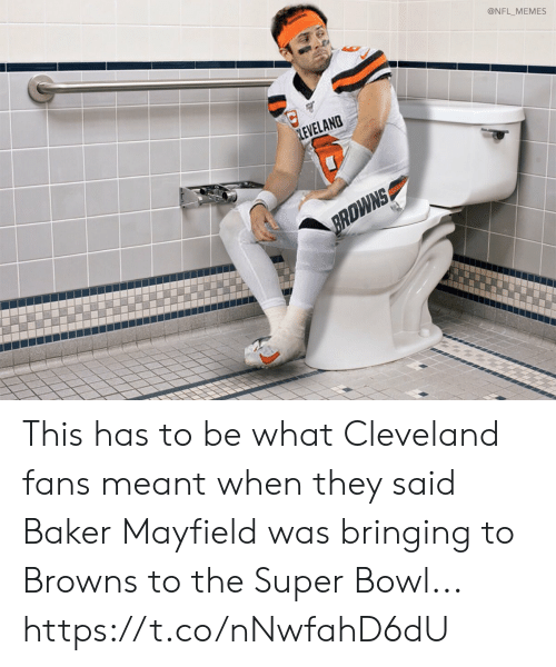 The Super Bowl: @NFL_MEMES  LEVELAND  BRDWNS This has to be what Cleveland fans meant when they said Baker Mayfield was bringing to Browns to the Super Bowl... https://t.co/nNwfahD6dU