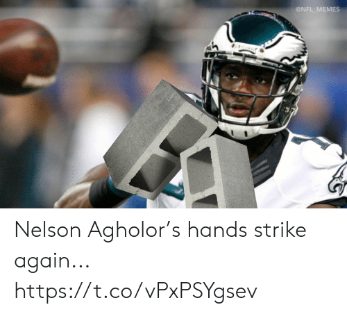 Football, Memes, and Nfl: @NFL_MEMES Nelson Agholor's hands strike again... https://t.co/vPxPSYgsev