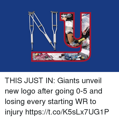 Football, Memes, and Nfl: @NFL MEMES THIS JUST IN: Giants unveil new logo after going 0-5 and losing every starting WR to injury https://t.co/K5sLx7UG1P