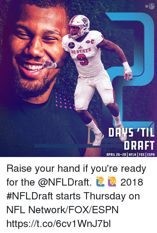 Espn, Memes, and Nfl: NFL  NC STATE  DRAFT  APRIL 26-28 | NFLN | FOX | ESPN Raise your hand if you're ready for the @NFLDraft. 🙋♂️🙋  2018 #NFLDraft starts Thursday on NFL Network/FOX/ESPN https://t.co/6cv1WnJ7bl