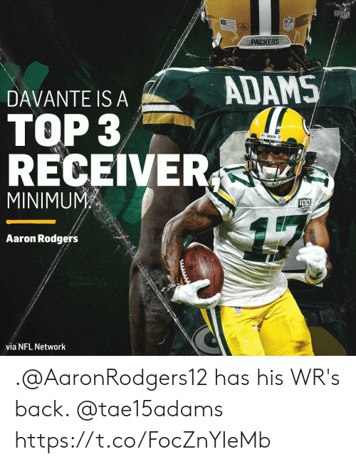 Adams: NFL  NFL  PACKERS  ADAMS  DAVANTE IS A  TOP 3  &PACKERS  RECEIVER  MINIMUM  SERSONS  Aaron Rodgers  via NFL Network .@AaronRodgers12 has his WR's back. @tae15adams https://t.co/FocZnYIeMb