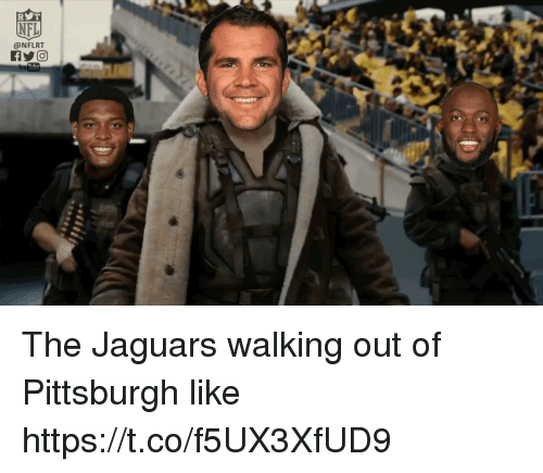 Nfl, Pittsburgh, and Jaguars: NFL  @NFLRT The Jaguars walking out of Pittsburgh like https://t.co/f5UX3XfUD9