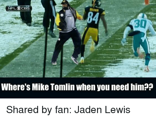 Memes, Mike Tomlin, and Nfl: NFL OCBS  DROWN  30  Where's Mike Tomlin when you need him?P Shared by fan: Jaden Lewis