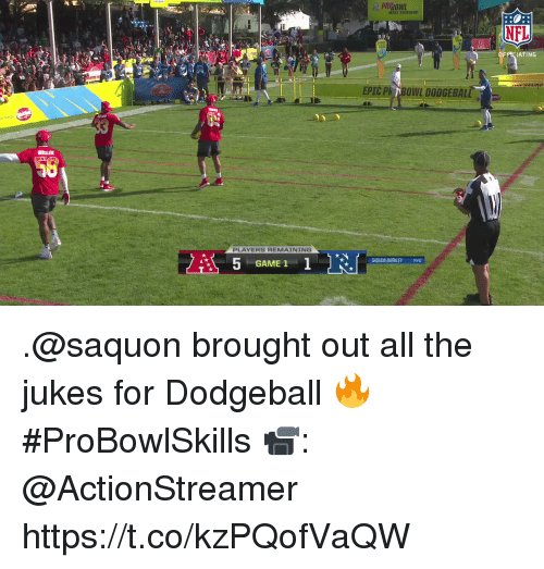 barkley: NFL  OFPCIATING  EPIC Ph BONL DODGEBALL  PLAYERS REMAINING  SAQUON BARKLEY NYG  GAME 1 .@saquon brought out all the jukes for Dodgeball 🔥 #ProBowlSkills  📹: @ActionStreamer https://t.co/kzPQofVaQW