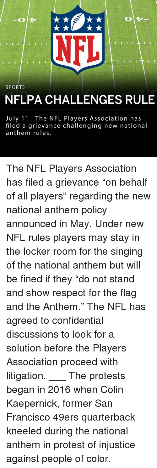 """San Francisco 49ers, Colin Kaepernick, and Memes: NFL  SPORTS  NFLPA CHALLENGES RULE  July 11 