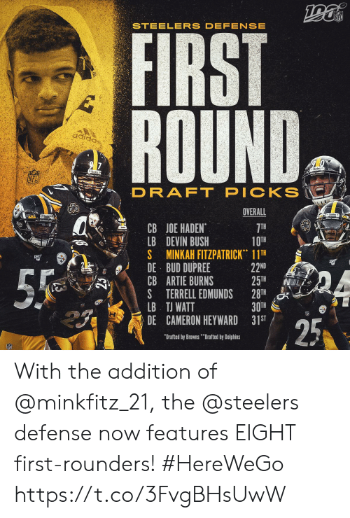 "bush: NFL  STEELERS DEFENSE  FIRST  ROUND  adiaa,  2 7  Srs  Stodn  PICKS  DRAFT  OVERALL  Stcers  CB JOE HADEN  LB DEVIN BUSH  S MINKAH FITZPATRICK 11TH  DE BUD DUPREE  CB ARTIE BURNS  S TERRELL EDMUNDS  LB TJ WATT  DE CAMERON HEYWARD 31ST  7TH  10TH  22ND  25TH  28TH  30TH  55  25  ""Drafted by Browns""Drafted by Dolphins With the addition of @minkfitz_21, the @steelers defense now features EIGHT first-rounders! #HereWeGo https://t.co/3FvgBHsUwW"