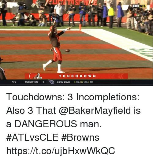 Memes, Nfl, and Browns: NFL  TOU C H D O W N  NFL  RECEIVING 5  Corey Davis 4 rec, 83 yds, 1 TD Touchdowns: 3 Incompletions: Also 3  That @BakerMayfield is a DANGEROUS man. #ATLvsCLE #Browns https://t.co/ujbHxwWkQC
