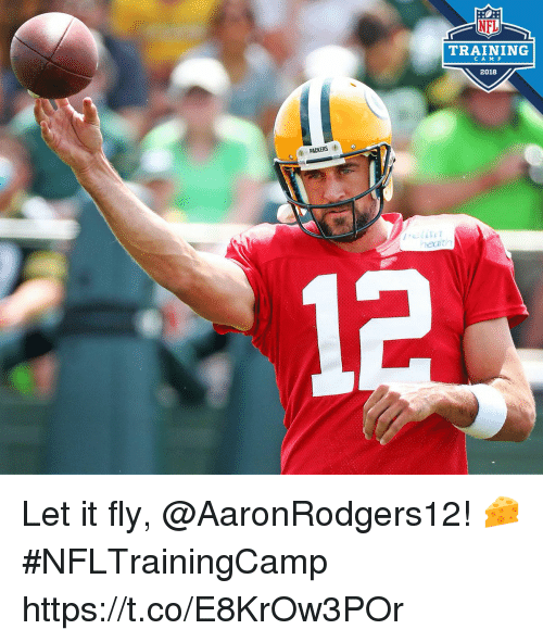 Memes, Nfl, and Packers: NFL  TRAINING  CAM P  2018  PACKERS  eath Let it fly, @AaronRodgers12! 🧀 #NFLTrainingCamp https://t.co/E8KrOw3POr
