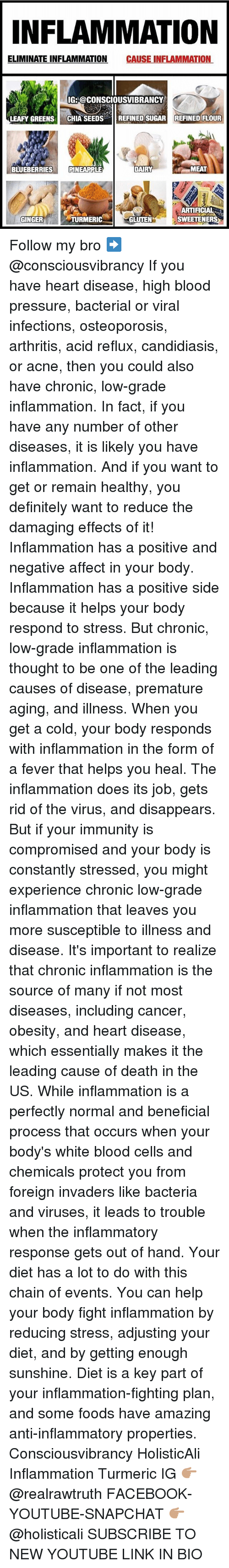 Feveral: NFLAMMATION  ELIMINATE INFLAMMATION CAUSE INFLAMMATION  IG: @CONSCIOUSVIBRANCY  LEAFY GREENS CHIA SEEDSREFINED SUGAR REFINED FLOUR  BLUEBERRIESPINEAPPLE  MEAT  ARTIFICIAL  SWEETENERS  GINGER  TURMERIC  GLUTEN Follow my bro ➡️ @consciousvibrancy If you have heart disease, high blood pressure, bacterial or viral infections, osteoporosis, arthritis, acid reflux, candidiasis, or acne, then you could also have chronic, low-grade inflammation. In fact, if you have any number of other diseases, it is likely you have inflammation. And if you want to get or remain healthy, you definitely want to reduce the damaging effects of it! Inflammation has a positive and negative affect in your body. Inflammation has a positive side because it helps your body respond to stress. But chronic, low-grade inflammation is thought to be one of the leading causes of disease, premature aging, and illness. When you get a cold, your body responds with inflammation in the form of a fever that helps you heal. The inflammation does its job, gets rid of the virus, and disappears. But if your immunity is compromised and your body is constantly stressed, you might experience chronic low-grade inflammation that leaves you more susceptible to illness and disease. It's important to realize that chronic inflammation is the source of many if not most diseases, including cancer, obesity, and heart disease, which essentially makes it the leading cause of death in the US. While inflammation is a perfectly normal and beneficial process that occurs when your body's white blood cells and chemicals protect you from foreign invaders like bacteria and viruses, it leads to trouble when the inflammatory response gets out of hand. Your diet has a lot to do with this chain of events. You can help your body fight inflammation by reducing stress, adjusting your diet, and by getting enough sunshine. Diet is a key part of your inflammation-fighting plan, and some foods have amazing anti-inflammatory properties. Co