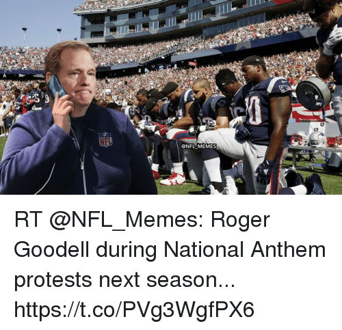 Memes, Nfl, and Roger: @NFLMEMES RT @NFL_Memes: Roger Goodell during National Anthem protests next season... https://t.co/PVg3WgfPX6