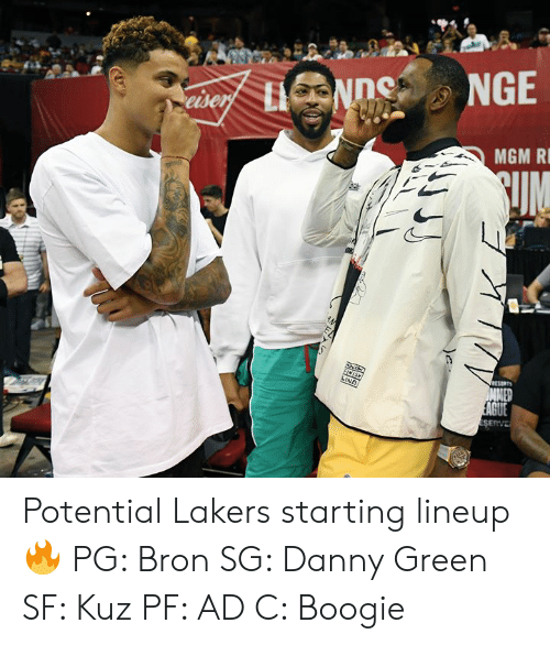 Los Angeles Lakers, Danny Green, and Mgm: NGE  eiser LNDe  MGM R  UM  FINISH  RESORTS  LINE  MMER  EAGUE  ES  ERVE Potential Lakers starting lineup 🔥  PG: Bron SG: Danny Green SF: Kuz PF: AD C: Boogie