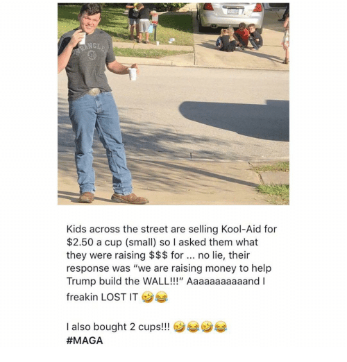 """Kool Aid: NGE  Kids across the street are selling Kool-Aid for  $2.50 a cup (small) so I asked them what  they were raising $$$ for. no lie, their  response was """"we are raising money to help  Trump build the WALL!!!"""" Aaaaaaaaaaand I  freakin LOST IT  I also bought 2 cups!!"""