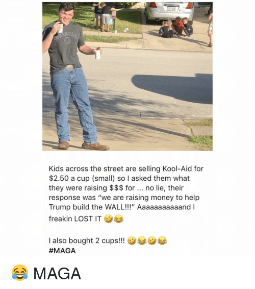 """kool: NGLE  Kids across the street are selling Kool-Aid for  $2.50 a cup (small) so I asked them what  they were raising $$$ for no lie, their  response was """"we are raising money to help  Trump build the WALL!!!"""" Aaaaaaaaaaand I  freakin LOST IT  I also bought 2 cups!!  😂 MAGA"""