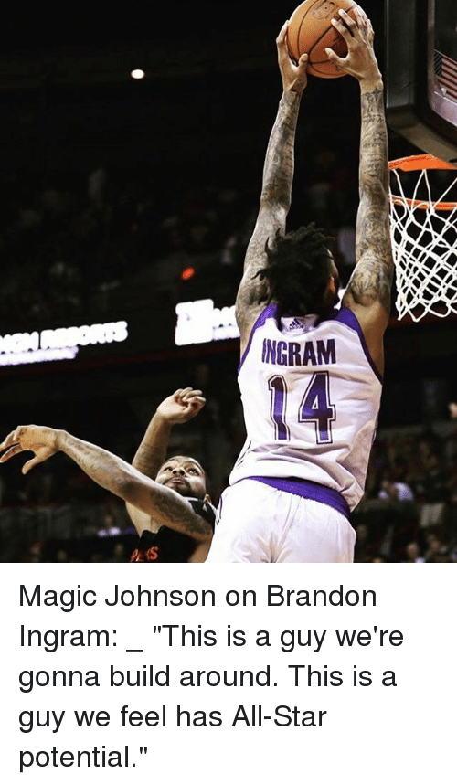 """All Star, Magic Johnson, and Memes: NGRAM Magic Johnson on Brandon Ingram: _ """"This is a guy we're gonna build around. This is a guy we feel has All-Star potential."""""""
