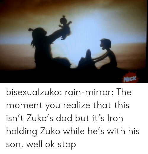 Dad, Tumblr, and Blog: NICK bisexualzuko:  rain-mirror:  The moment you realize that this isn't Zuko's dad but it's Iroh holding Zuko while he's with his son.  well ok stop