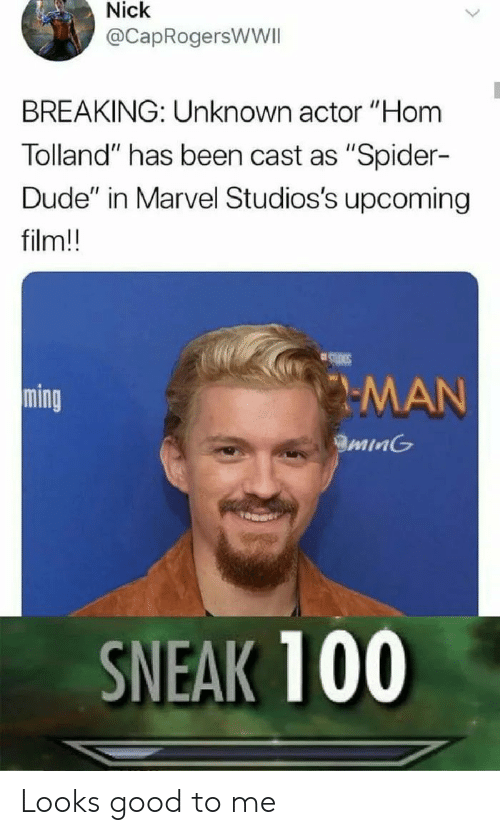 "Looks Good To Me: Nick  @CapRogersWWII  BREAKING: Unknown actor ""Hom  Tolland"" has been cast as ""Spider-  Dude"" in Marvel Studios's upcoming  film!!  SLDIES  MAN  ming  minG  SNEAK 100 Looks good to me"