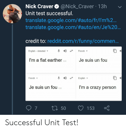 Flat Earther: Nick Craver @Nick_Craver 13h  Unit test successful.  translate.google.com/#auto/fr/rm%2..  translate.google.com/#auto/en/Je%20  credit to: reddit.com/r/funny/commen..  English - detected  French  I'm a flat earther  Je suis un fou  Edit  French ▼  English  Je suis un fou  I'm a crazy person  Edit Successful Unit Test!