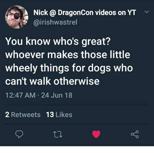 Dogs, Videos, and Nick: Nick @ DragonCon videos on YT  @irishwastrel  You know who's great?  whoever makes those little  wheely things for dogs who  can't walk otherwise  12:47 AM 24 Jun 18  2 Retweets  13 Likes