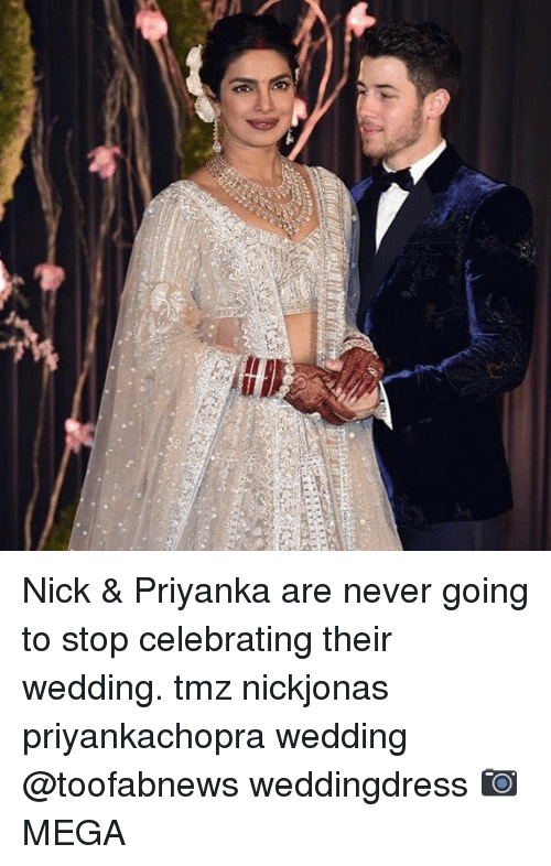Memes, Nick, and Wedding: Nick & Priyanka are never going to stop celebrating their wedding. tmz nickjonas priyankachopra wedding @toofabnews weddingdress 📷MEGA