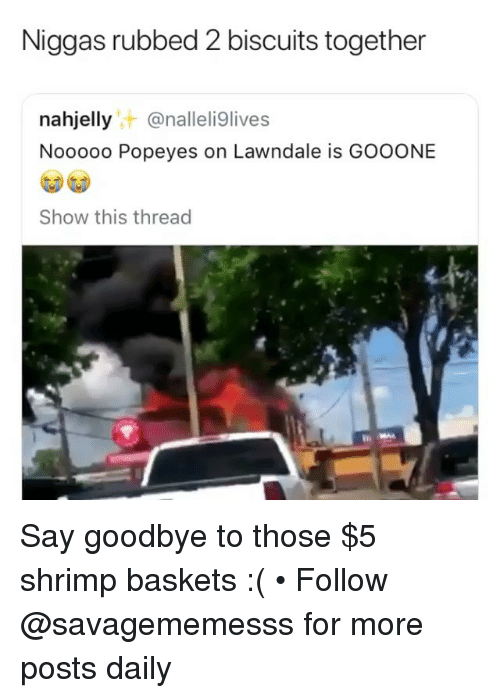 Memes, Popeyes, and 🤖: Niggas rubbed 2 biscuits together  nahjellyt @nalleli9lives  Nooooo Popeyes on Lawndale is GOOONE  Show this thread Say goodbye to those $5 shrimp baskets :( • Follow @savagememesss for more posts daily