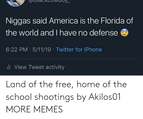 America, Dank, and Iphone: Niggas said America is the Florida of  the world and I have no defense  6:22 PM 5/11/19 Twitter for iPhone  ll View Tweet activity Land of the free, home of the school shootings by Akilos01 MORE MEMES