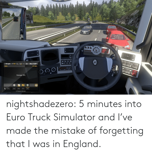 5 minutes: nightshadezero: 5 minutes into Euro Truck Simulator and I've made the mistake of forgetting that I was in England.