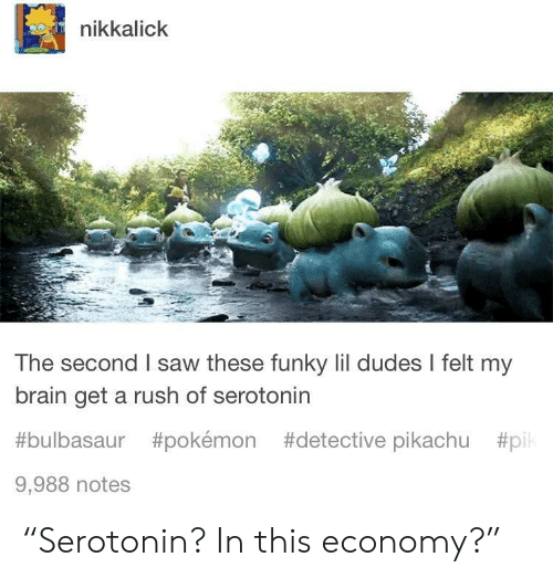 "pil: nikkalick  The second I saw these funky lil dudes I felt my  brain get a rush of serotonin  #bulbasaur #pokémon #detective pikachu #pil  9,988 notes ""Serotonin? In this economy?"""