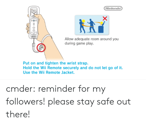 wii remote: Nintendo  Allow adequate room around you  during game play.  Put on and tighten the wrist strap.  Hold the Wii Remote securely and do not let go of it.  Use the Wii Remote Jacket. cmder: reminder for my followers! please stay safe out there!
