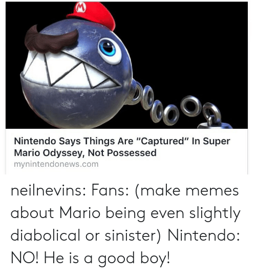 """diabolical: Nintendo Says Things Are """"Captured"""" In Super  Mario Odyssey, Not Possessed  mynintendonews.com neilnevins:  Fans: (make memes about Mario being even slightly diabolical or sinister)  Nintendo: NO! He is a good boy!"""