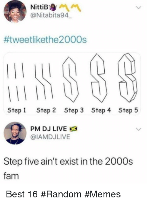 Fam, Memes, and Best: @Nitabita94.-  #tweetlikethe2 000s  Step1 Step 2 Step 3 Step 4 Step5  PM DJ LIVE X  @IAMDJLIVE  Step five ain't exist in the 2000s  fam Best 16 #Random #Memes