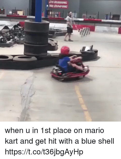 blue shell: NO BUMPING when u in 1st place on mario kart and get hit with a blue shell https://t.co/t36jbgAyHp