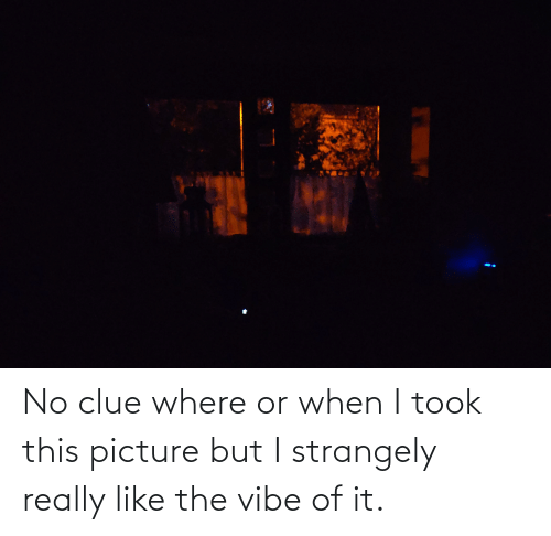 The Vibe: No clue where or when I took this picture but I strangely really like the vibe of it.