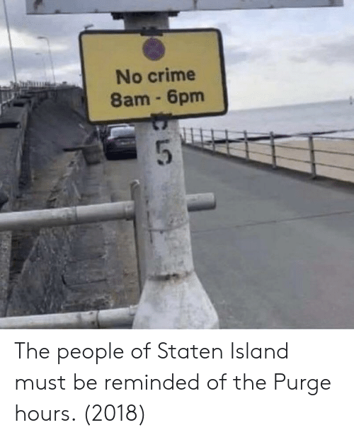 Crime, The Purge, and Staten Island: No crime  8am 6pm The people of Staten Island must be reminded of the Purge hours. (2018)