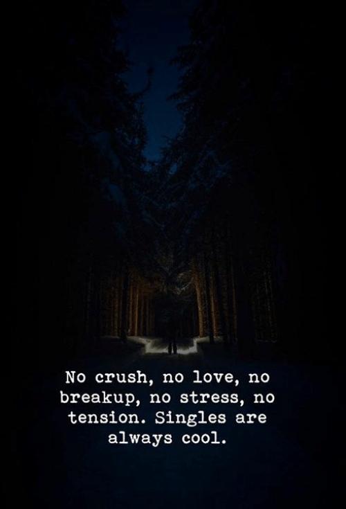Crush, Love, and Cool: No crush, no love, no  breakup, no stress, no  tension. Singles are  always cool