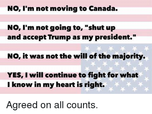 """Moving To Canada: No, I'm not moving to Canada.  No, I'm not going to  shut up  and accept Trump as my president.""""  NO, it was not the will of the majority.  YES, will continue to fight for what  I know in my heart is right. Agreed on all counts."""