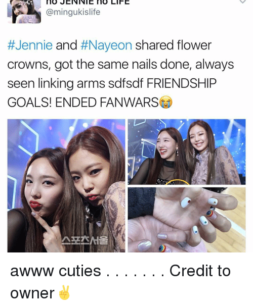 Jenni: no JENNIE no LIFE  @mingukislife  Jennie and  #Naveon shared flower  crowns, got the same nails done, always  seen linking arms sdfsdf FRIENDSHIP  GOALS! ENDED FANWARSLO awww cuties . . . . . . . Credit to owner✌