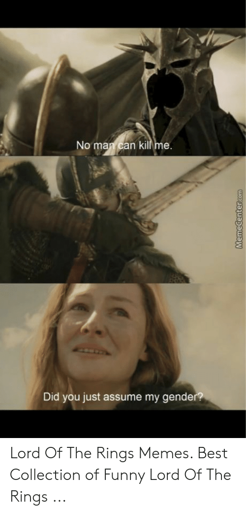 funny lotr: No man can kill me  Did you just assume my gende Lord Of The Rings Memes. Best Collection of Funny Lord Of The Rings ...