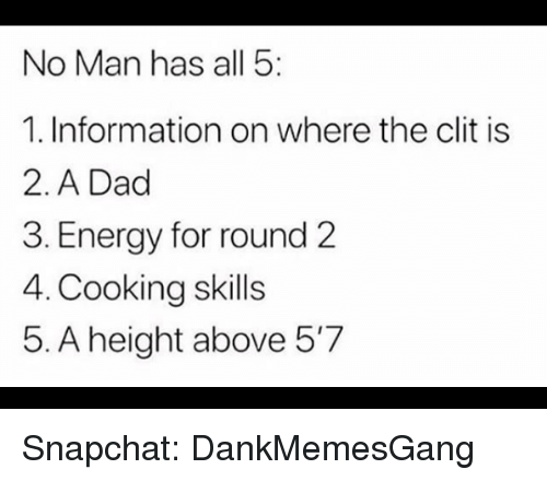 Dad, Energy, and Memes: No Man has all 5  1. Information on where the clit is  2. A Dad  3. Energy for round 2  4. Cooking skills  5. A height above 5'7 Snapchat: DankMemesGang