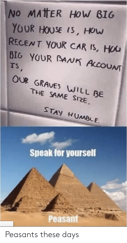 Bank, House, and Peasant: No MATHER HOW BIG  YOUR HOUSE IS, HOw  RECENT YOUR CAR IS, HUU  BIG YOUR BANK ALCOUNT  TS,  OUR GRAVES WILL BE  THE SAME SIZE  STAY HUMBE  Speak for yourself  Peasant Peasants these days