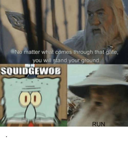 Comes Through: No matter what comes through that gate,  you will stand your ground.  SOUIDGEWOB  00  RUN .